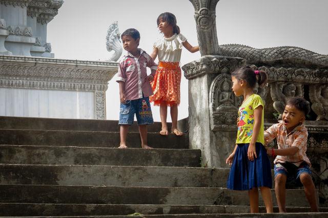 Enfants à Kampong Cham au Cambodge.