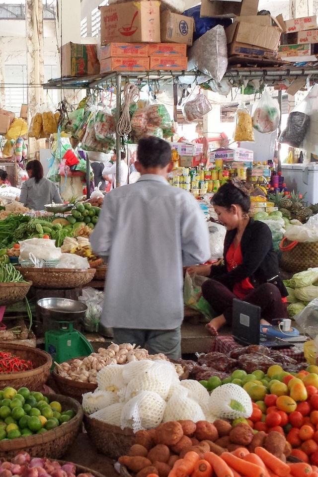 Marché à Kratie au Cambodge.