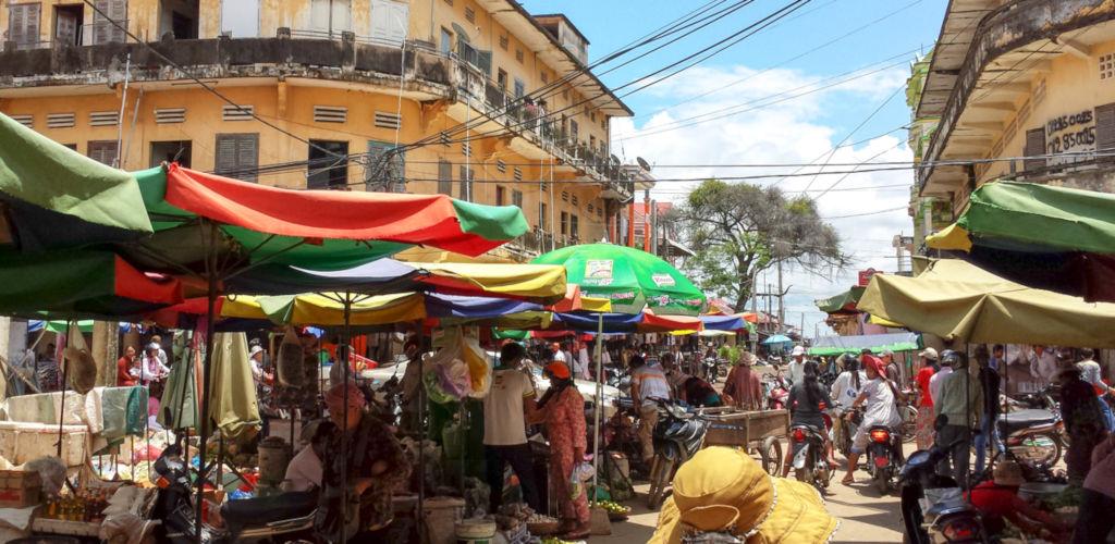 Marché à Kratié au Cambodge.