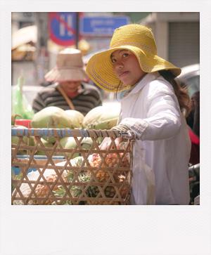 Jeune fille cambodgienne à Phnom Penh.