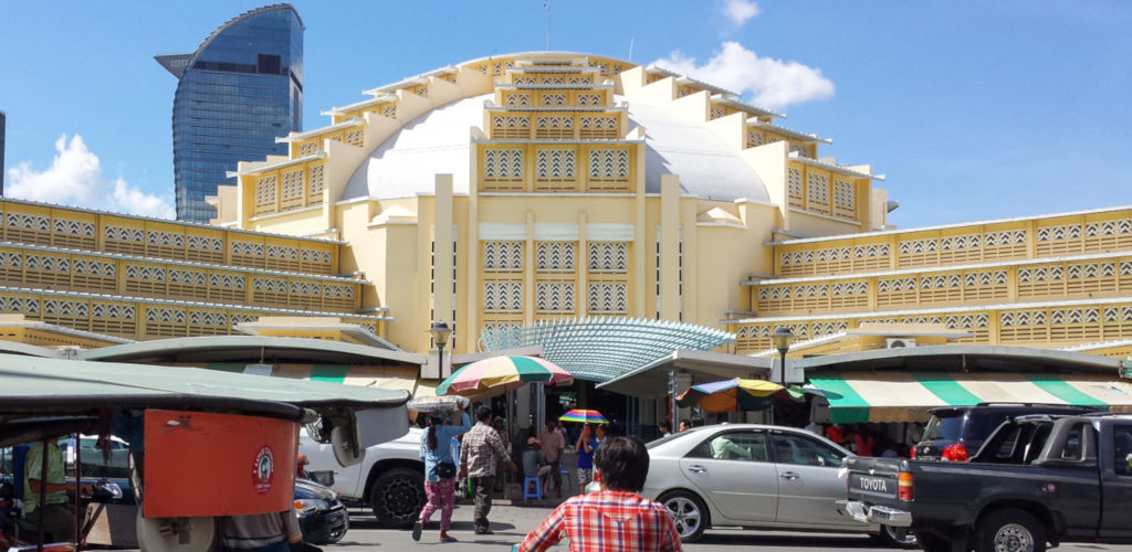 CMarché central de Phnom Penh au Cambodge.