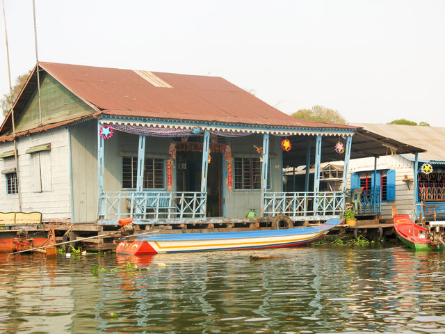 Village flottant au Cambodge.
